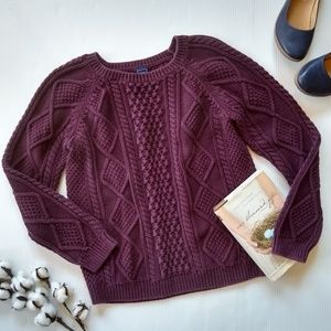 GAP • purple cozy chunky cable Knit sweater